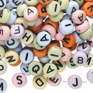 bead mix, acrylic, opaque mixed colors, 7mm double-sided flat round with alphabet letters. sold per pkg of 200.