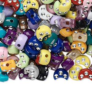 bead mix, acrylic, opaque mixed colors, 8x5mm moon. sold per 75-gram pkg, approximately 510-520 beads.