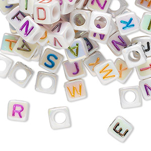 bead mix, acrylic, opaque white ab and multicolored, 6x6mm cube with alphabet letters and 3.5mm hole. sold per pkg of 100.