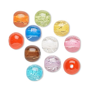 bead mix, acrylic, translucent mixed colors with silver-colored foil, 8mm round. sold per pkg of 100.
