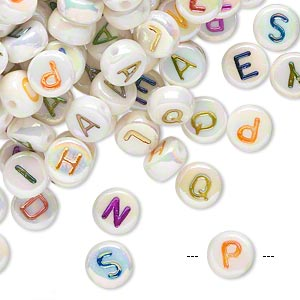 bead mix, acrylic, white ab with multicolored alphabet, 7x4mm double-sided flat round with 1mm drill hole. sold per pkg of 200.
