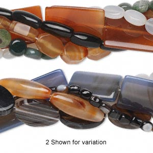 bead mix, agate (natural / dyed / heated), mixed colors, 7x5mm-40x29mm mixed shape, c grade, mohs hardness 6-1/2 to 7. sold per pkg of (5) 15-inch strands.