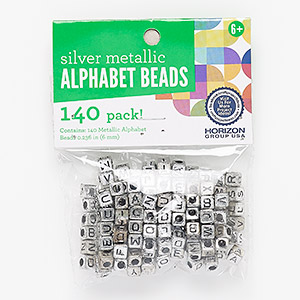 bead mix, antique silver-coated plastic, 6mm cube with alphabet letters and 3mm hole. sold per pkg of 140.