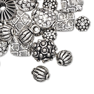 bead mix, antique silver-plated copper, 7x6mm-14x8mm mixed shape. sold per 1-troy ounce pkg, approximately 25-30 beads.