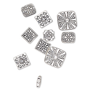 bead mix, antique silver-plated pewter (zinc-based alloy), 10x10mm-17x17mm double-sided square and 12x10mm double-sided rectangle. sold per pkg of 10.