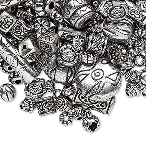 bead mix, antiqued silver-finished plastic, 6.5x2mm-25x19.5mm mixed shape. sold per 250-gram pkg, approximately 1,200 to 1,500 beads.