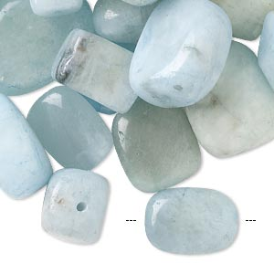 bead mix, aquamarine (dyed / heated), blue, 10x8mm-22x16mm mixed shapes, c- grade. sold per pkg of 100 grams, approximately 25-35 beads.