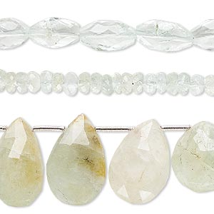 bead mix, aquamarine (heated), 5x3mm-20x4mm hand-cut mixed faceted shape, mohs hardness 7-1/2 to 8. sold per pkg of (3) 6-inch strands.