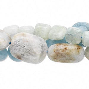bead mix, aquamarine (heated), blue and green, 7x5mm-20mm multi-shape, d grade, mohs hardness 7-1/2 to 8. sold per pkg of (3) 15-inch strands.