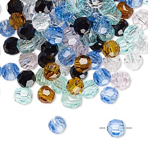 bead mix, asfour crystal, crystal, mixed colors, 6mm faceted round. sold per 1-ounce pkg, approximately 150 beads.