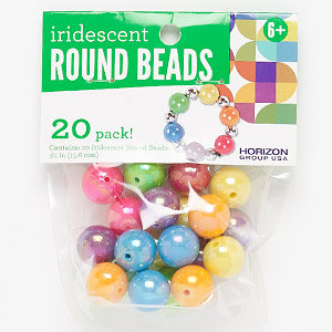 bead mix, bead landing™, plastic, opaque iridescent mixed colors, 16mm round. sold per pkg of 20.