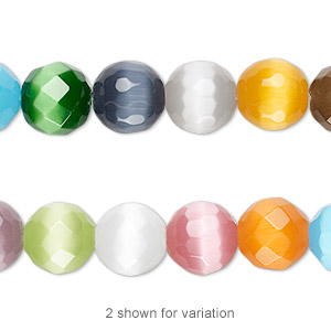 bead mix, cats eye glass, multicolored, 10mm faceted round. sold per 16-inch strand.