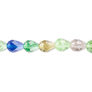 bead mix, celestial crystal, 56-facet, mixed colors, 8x6mm faceted teardrop. sold per 16-inch strand.