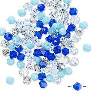 bead mix, celestial crystal, blues, 4-4.5mm faceted bicone with 0.9-1mm hole. sold per pkg of 100.