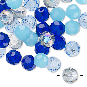bead mix, celestial crystal, blues, 7.5-8mm faceted round. sold per pkg of 40.