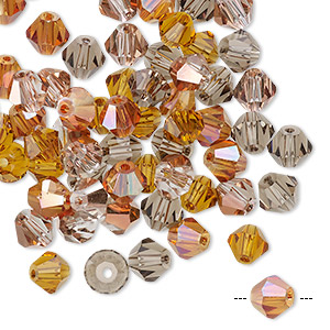 bead mix, celestial crystal, fall, 6mm faceted bicone. sold per pkg of 60.