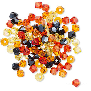 bead mix, celestial crystal, fire, 4-4.5mm faceted bicone with 0.9-1mm hole. sold per pkg of 100.