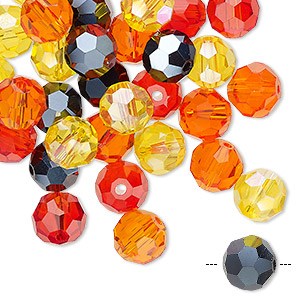bead mix, celestial crystal, fire, 7.5-8mm faceted round. sold per pkg of 40.