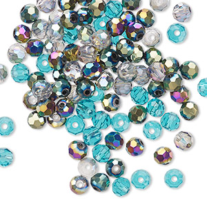 bead mix, celestial crystal, ocean, 4-4.5mm faceted round. sold per pkg of 100.