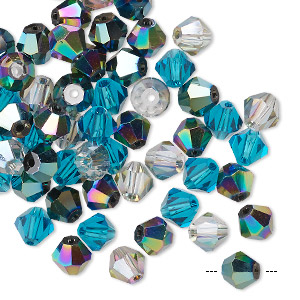 bead mix, celestial crystal, ocean, 6mm faceted bicone. sold per pkg of 60.