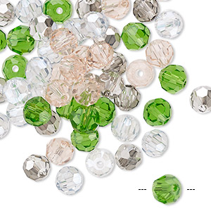 bead mix, celestial crystal, spring, 5.5-6mm faceted round. sold per pkg of 60.