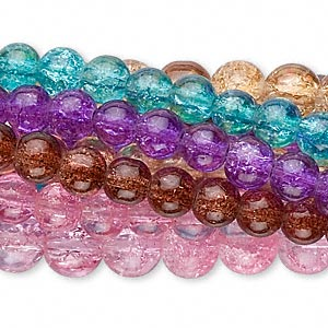 bead mix, coated crackle glass, mixed colors, 6-8mm round. sold per pkg of (10) 30-inch strands.