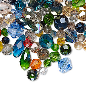 bead mix, crystal, mixed colors, 4mm-12x6mm mixed shape. sold per 50-gram pkg, approximately 220-280 beads.