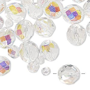 bead mix, czech fire-polished glass, clear ab, 4-10mm faceted round. sold per 50-gram pkg, approximately 75-130 beads.