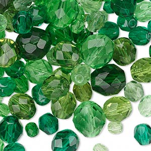 bead mix, czech fire-polished glass, green, 4-10mm faceted rounds. sold per 50-gram pkg, approximately 75-130 beads.