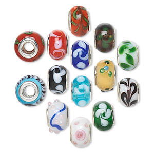 bead mix, dione, lampworked glass with silver-plated brass grommets, opaque and semitransparent mixed colors, 14x9mm rondelle with swirls, 4.5-5mm hole. sold per pkg of 14.
