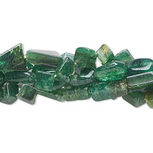 bead mix, emerald green aventurine (natural), 7x3mm-16x10mm hand-cut multi-shape, c grade, mohs hardness 7. sold per pkg of (5) 14-inch strands.