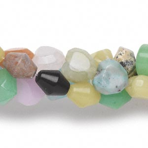 bead mix, gemstone (natural / dyed / manmade) and glass, mixed colors, 8x8mm-30x15mm mixed shape, c grade. sold per pkg of (3) 16-inch strands.