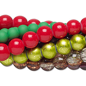 bead mix, glass, mixed colors, 4x3mm-13x13mm mixed shape. sold per pkg of (5) 30-inch strands.