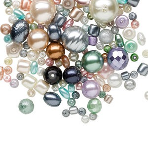 bead mix, glass pearl, mixed colors, 2-14mm mixed shape. sold per 100-gram pkg, approximately 140-200 beads.