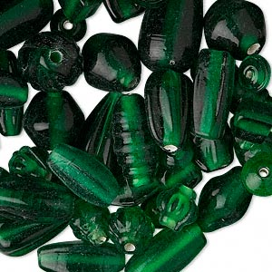 bead mix, glass, translucent dark green, 7x4mm-21x11mm mixed shapes. sold per pkg of 50 grams.