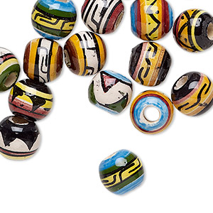 bead mix, glazed ceramic, multicolored, 9-11mm round with hand-painted geometric design, 3mm hole. sold per pkg of 20.