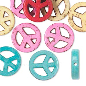 bead mix, howlite (imitation), mixed colors, 15mm round peace sign. sold per pkg of 10.