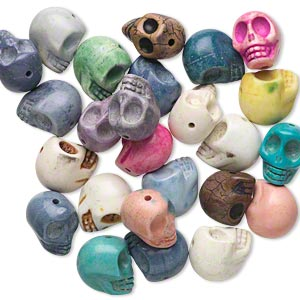 bead mix, howlite (imitation), mixed colors, 18x15mm skull. sold per pkg of 25.