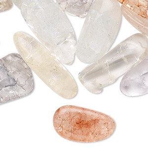 bead mix, ice flake quartz (dyed / heated), mixed colors, medium to extra-large top-drilled nugget, mohs hardness 7. sold per 250-gram pkg, approximately 85 beads.