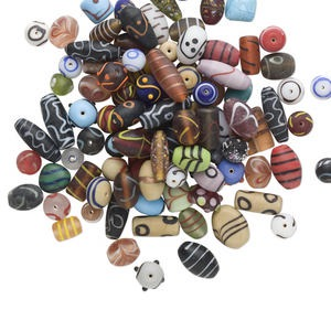 bead mix, lampworked glass, mixed colors, 10mm-22x15mm african style mixed shape. sold per 500-gram pkg, approximately 120 beads.