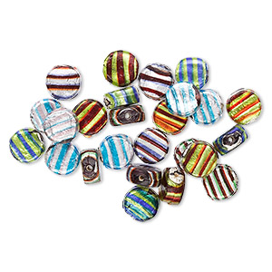 Bead mix lampworked glass mixed opaque colors with silvercolored foil  15mm flat round Sold per 100gram pkg