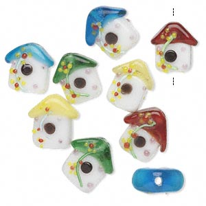 bead mix, lampworked glass, multicolored, 17x16mm birdhouse. sold per pkg of 8.