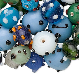 bead mix, lampworked glass, multicolored, 8x7mm-22x12mm bumpy. sold per 1/4 kilogram pkg.