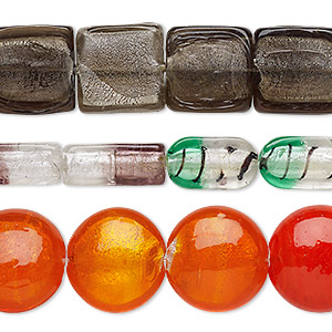 bead mix, lampworked glass, translucent / transparent / opaque multicolored, 24mm-51x46mm mixed shape. sold per pkg of (3) 8-inch strands.