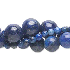 bead mix, lapis lazuli (dyed), 4-12mm round, c grade, mohs hardness 5 to 6. sold per pkg of (3) 15-inch strands.