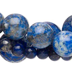 bead mix, lapis lazuli (dyed), 8-25mm round, mohs hardness 5 to 6. sold per pkg of (3) 15-inch strands.