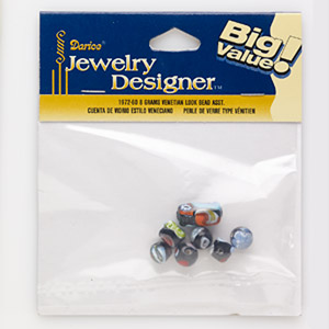 bead mix, millefiori glass, black and multicolored, 8x7mm-17x10mm mixed shape. sold per 8-gram pkg, approximately 7-9 beads.