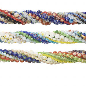 bead mix, millefiori glass, multicolored, 4mm-18x13mm mixed shape. sold per pkg of (10) 14-inch strands.