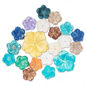 bead mix, mother-of-pearl shell (bleached / dyed), mixed colors, 17-67mm center-drilled carved flower, c grade, mohs hardness 3-1/2. sold per pkg of 20.