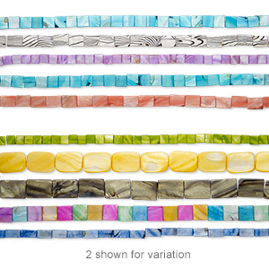 bead mix, mother-of-pearl shell (dyed / coated), mixed colors, 7x6mm-38x27mm flat square and flat rectangle, mohs hardness 3-1/2. sold per pkg of (5) 14- to 16-inch strands.